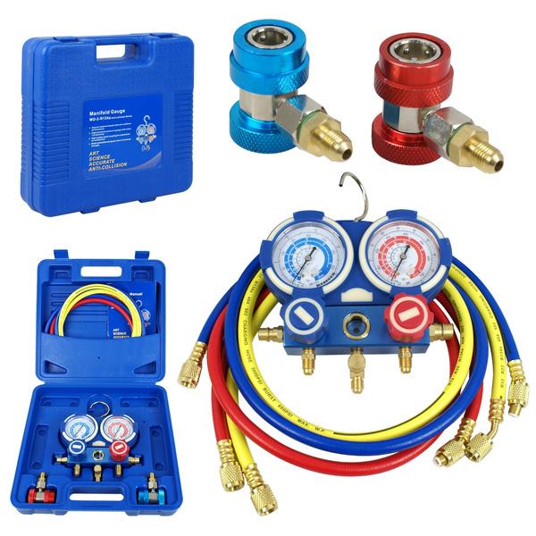 Segawe Brass AC Manifold Gauge Set For R22 R134a R410a Carry Case