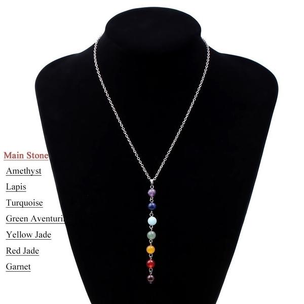 7 Chakra Reiki Beads Healing Gemstone Charms Pendant Yoga Balancing Necklace Lapis/Turquoise/Amethyst/Jade