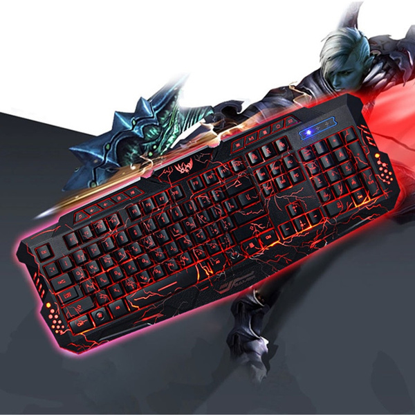 Picture of Russian / English Gaming Keyboard Gamer 3color Switchable Backlights Led Usb Wired Game Keyboard Color Black
