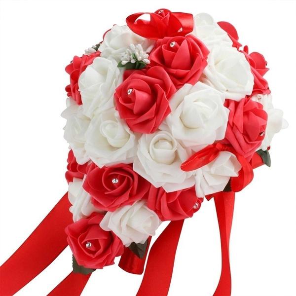 Wish handmade wedding bouquet bridal holding flower brooch wish handmade wedding bouquet bridal holding flower brooch teardrop shape silk rose flowers crystal wedding party decor mightylinksfo