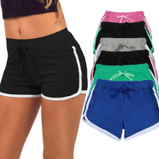 Sexy New Women Sports Shorts Contrast Binding Side Split Elastic Waist Yoga Shorts