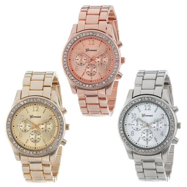 Picture of Women Fashion Faux Chronograph Quartz Plated Classic Round Ladies Women Crystals Watch