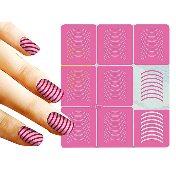 Wish | 9 Tips/Sheet Striped Nail Art Stencils Nail Vinyls Hollow ...