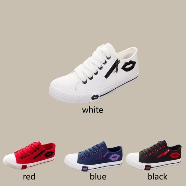 Picture of New Korean Canvas Shoes Female Low Lace Lips Side Zipper Student Flat Casual Sports Shoes