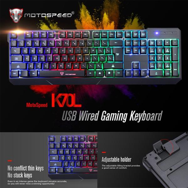 Picture of Motospeed K70 7-color Backlight Gaming Keyboard Usb Powered For Computer Desktop Laptop Color Black