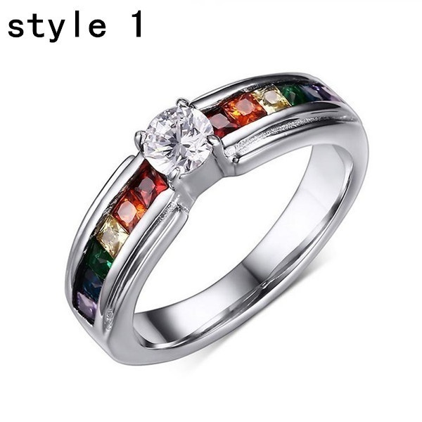 Wish Fashion Rainbow Rings For Women Stainless Steel Pride Wedding Jewelry