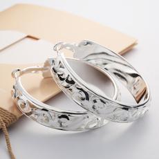 925 Sterling silver Women Fashion Hoop Studs Dangle Earrings Ear Studs Jewelry