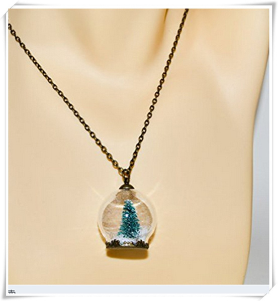 Wish Christmas Tree Snow Globe Necklace Glass Ball Pendant Christmas Jewelry Miniature Christmas Tree Necklace