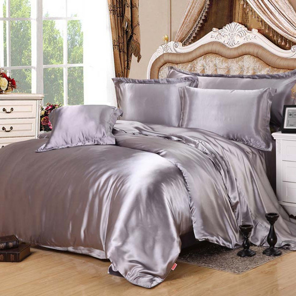 Wish | High Quality Pure Satin Silk Bedding Set Duvet Cover Flat Sheet  Pillowcases 4pcs Twin/Queen/Super King Size Black