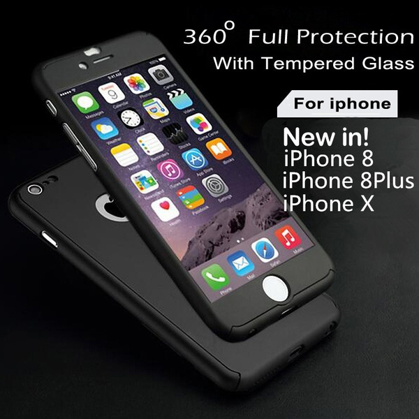 quality design 3c3c7 fe18f 3 in 1 For iPhone 5s SE 6 6s Plus Iphone 7 Iphone 8 iphone 8 plus iphone X  Full Body Cases With Tempered Glass Case Luxury 360 Derece Full Protection  ...