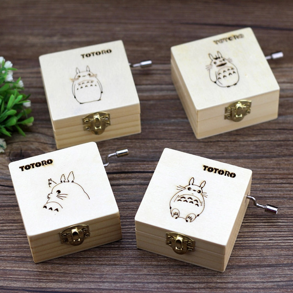 Picture of 1 Pcs Mini Wooden Hand-cranked Music Box Totoro Wooden Crafts Case Kids Toys Birthday Christmas Gift