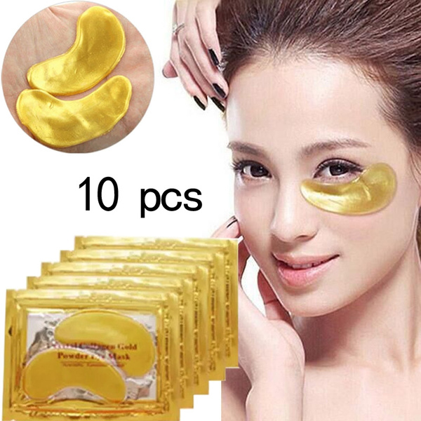 Picture of 10pcs Natural Crystal Collagen Gold Powder Eye Maskanti-aging Face Care Skin Care Eye Patches 10pcs5 Packcolorgold And White