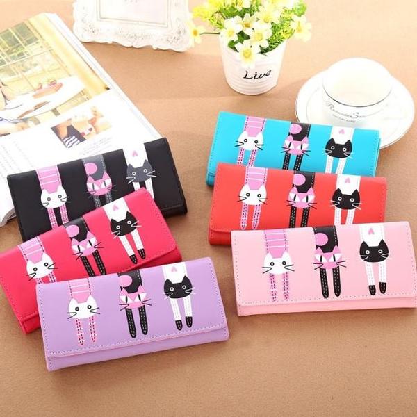 Picture of Paris Women Cat Pattern Coin Purse Long Wallet Card Holders Handbag