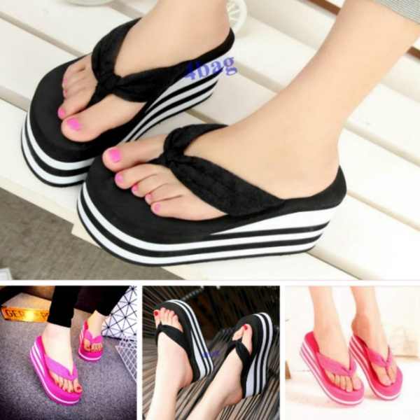 Picture of -New Womens Slippers High Heel Flip Flops Striped Wedge Sandals Comfy Beach Shoes