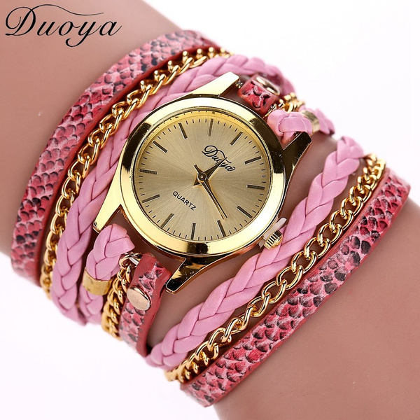 Women's Casual Vintage Multilayer Wristwatch Weave Wrap Rivet Leather Bracelet Wrist Watch