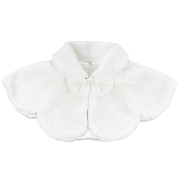 5c003ea963 Kids Girls Faux Fur Bolero Shrug Jacket Cloak Princess Cape Wedding ...