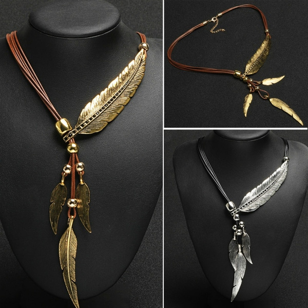 Women Fashion Black Rope Chain Feather Pattern Pendant Necklace Collars Necklace Fine Jewelry