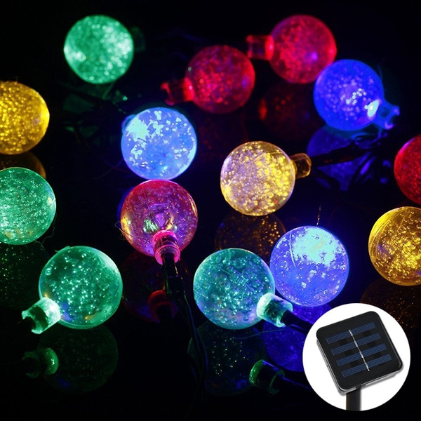 Picture of Solar String Lights 20ft 30 Led Crystal Ball Waterproof Outdoor String Lights Solar Powered Globe Fairy String Lights For Outside Garden Yard Home Landscape Halloween Christmas Party
