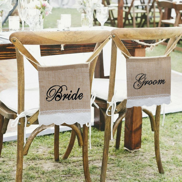 Picture of Groom Bride Burlap Lace Chair Signs Banner For Rustic Wedding Chair Decoration