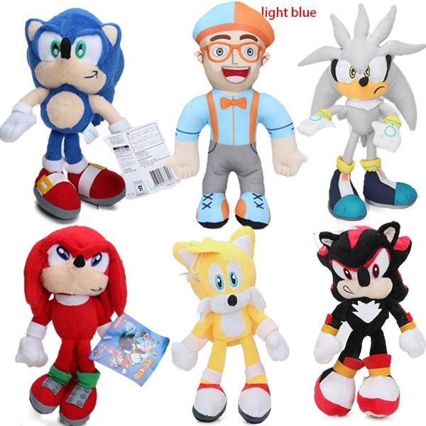 1piece 20cm 32cm Silver Blue Super Sonic The Hedgehog Plush Tails Toys Soft Stuffed Dolls Wish