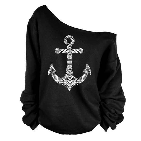 Picture of Women's Sping Shoulder Shirt Anchor Hoody Strapless Tops Spring Long Sleeved