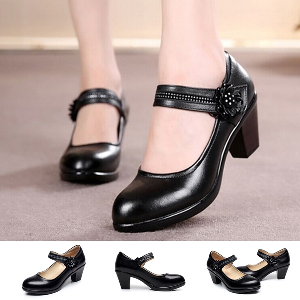 women genuine leather shoes pumps woman