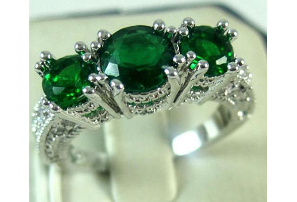 925 Sterling Silver Three Stone Emerald Ruby Sapphire Wedding Piercing Ring