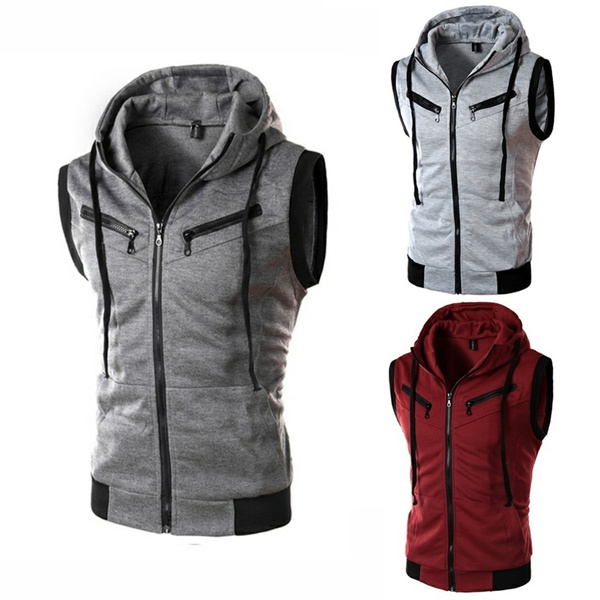 Men Hooded Coat Sport Casual Hoodie Sleeveless Zipper Jacket Vest Waistcoat Tops