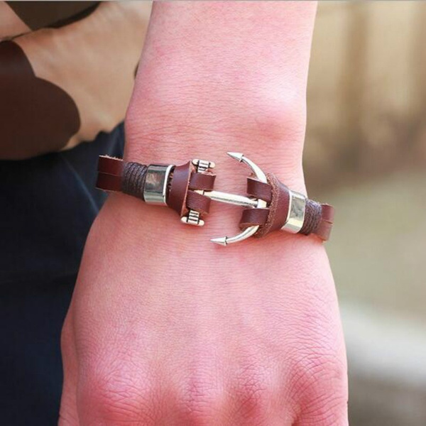 Handmade Jewelry Leather Anchors Charm Bracelets Punk Style Bangles Brown Alloy