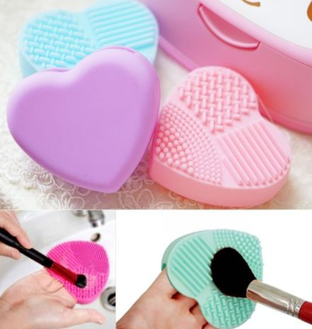 New Heart Cleaning Glove MakeUp Washing Brush Scrubber Board Cosmetic Best Gifts