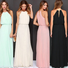 sleeveelssdre, sleeveless, chiffon, women dresses