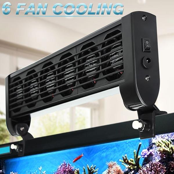 Aquarium Marine Tropic Fish Tank Chillers Cooling Fan 6 Fans + Adapter 12V  For Aquarium Fish Tank
