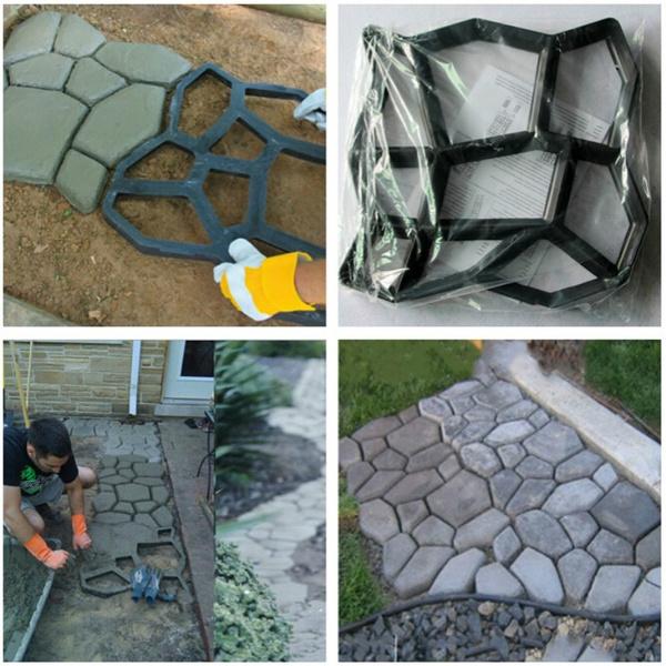 1pc DIY Driveway Paving Brick Patio Concrete Slabs Path Pathmate Garden  Walk Maker Mould