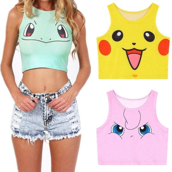 177007f89d310 Women Pokemon Tank Top Vest Pikachu Squirtle Jigglypuff Hot Sought ...