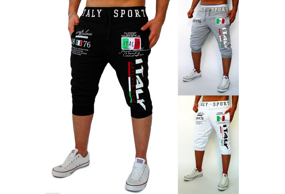 High quality men's fashion cotton shorts, Italian digital printing casual sports 5 pants