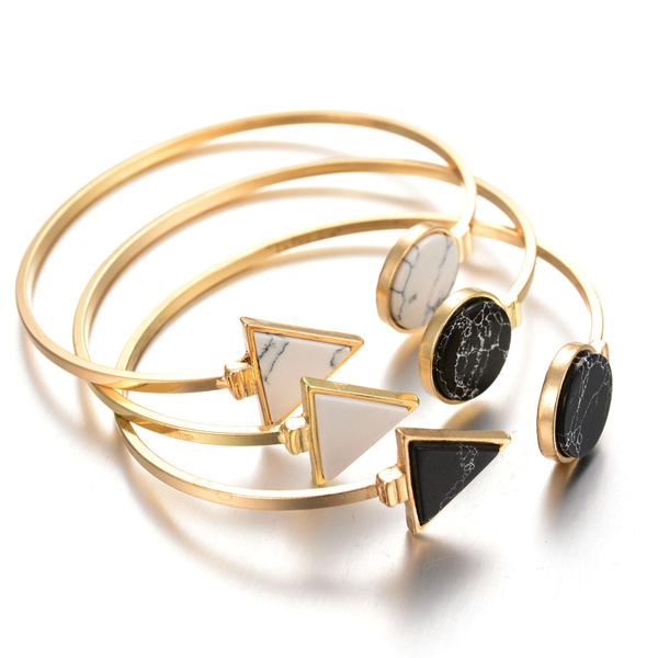 Picture of New Fashion Bangle Natural Stone Casual Adjustable Bracelet Round And Triangle