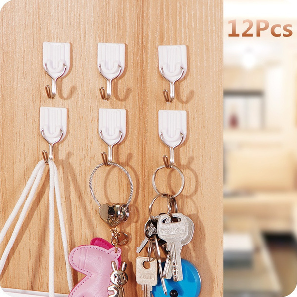 Picture of 12pcs Self Adhesive Hooks Stick On Wall Hanging Door Bathroom Kitchen Hanger Tool