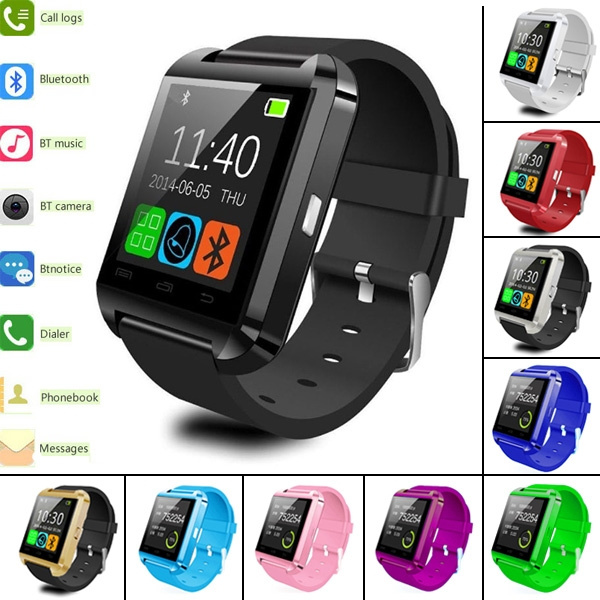 Picture of Men And Women Fashion Popular Outdoor Sport 2.4ghz U8 Bluetooth Smartwatch Bluetooth Smart Watch Smart Phone Mate Watch For Ios Android Phone 3 Colors Red Black And White