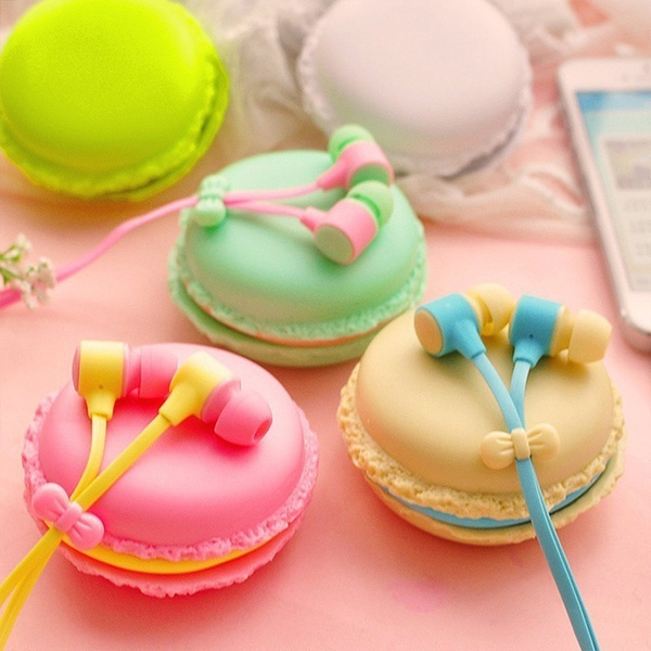 Picture of 1 Set Macarons Design In-ear Earphones Headphones Headset For All Phones Cute Headphone For Mp3 Player