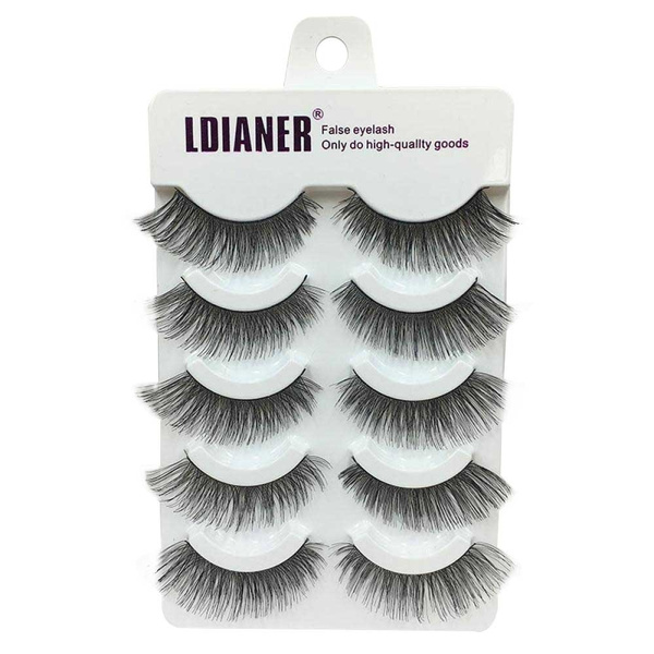 Picture of 5 Pairs Makeup Soft Natural Thick Black False Eyelashes Handmade Eye Lashes Extension