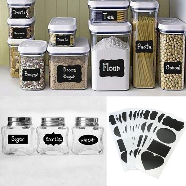 Picture of 36pcs Vinyl Chalkboard Label Stickersblackboard Chalkboard Stickers Jar Labels Kitchen Organizing Chalkboard Stickers Decor Color Black