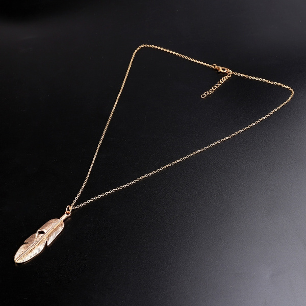 Women Jewelry Feather Pendant Chain Necklace Long Sweater Chain Statement Jewelry