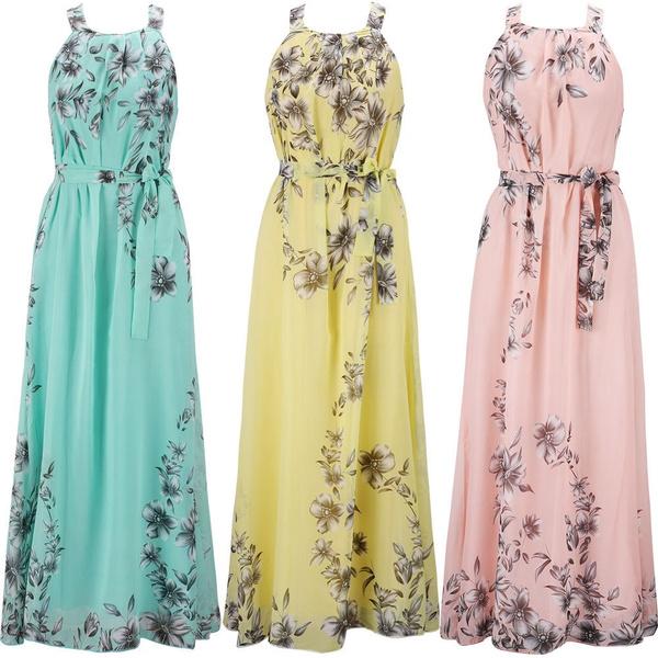 bohemia, Flowers, halter dress, chiffon