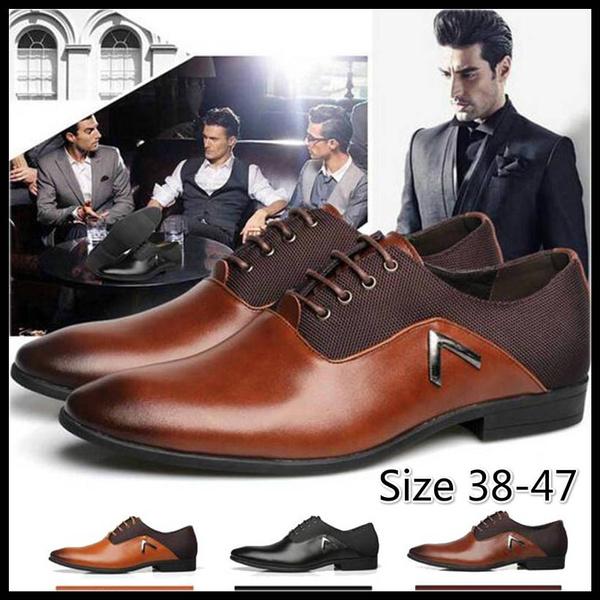 Classical Men Dress Flat Shoes Luxury Men's Business Oxfords Casual Shoe Leather Derby Shoes