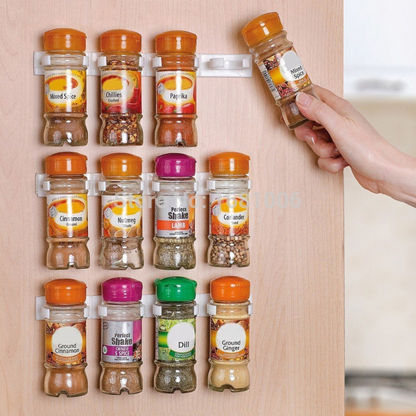 Picture of 1 Pc Spice Wall Rack Storage Plastic Kitchen Organizer 5 Cabinet Door Hooks