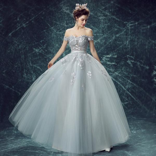 Wish   Fashion Lace Wedding Dresses Banquet Dress Grey Evening Dress ...