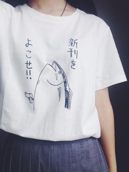 Picture of Fish Pattern Japanese Style Halajuku Wild Funny Short Sleeve O-neck Women White T-shirt
