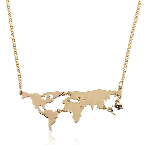 Picture of Globe World Map Pendant Necklace Personality Teacher Student Earth Jewelry