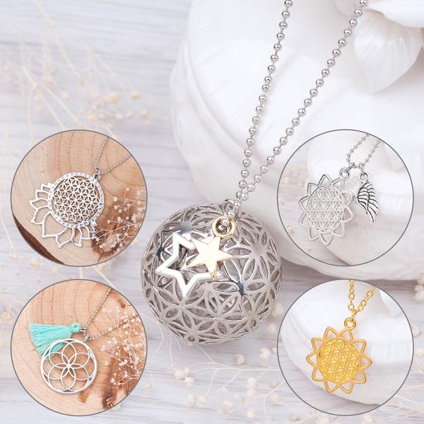 Flower of Life Seed of Life Pattern Pendant Necklace Om Yoga Peace Symbol  Mandala Hexagon Sacred Geometry Jewelry Necklace