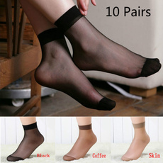 10 Pairs Sexy Ultra-thin Elastic Silky Short Silk Stockings Women Ankle Socks